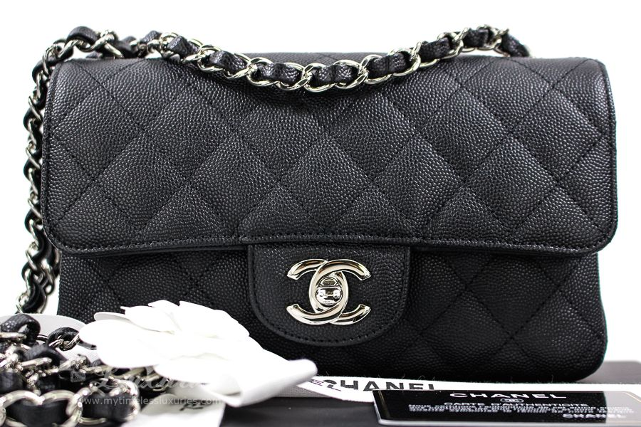 a01c7d2d42c5 Timeless Luxuries - CHANEL 18C Black Caviar Rectangle Mini Flap Silver Hw
