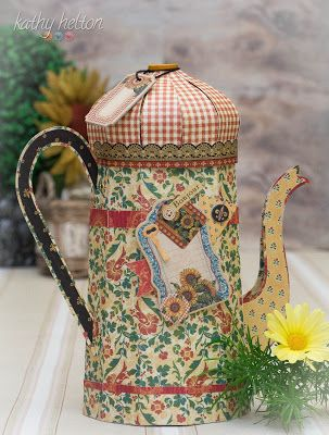 The French Coffee Pot from FARMHOUSE KITCHEN SVG KIT Kathy has made is simply gorgeous!  I know I sound like a broken record, but this girl sure knows how to blend just the right patterned papers to give it that WOW factor!  What a beautiful mixture of colors!