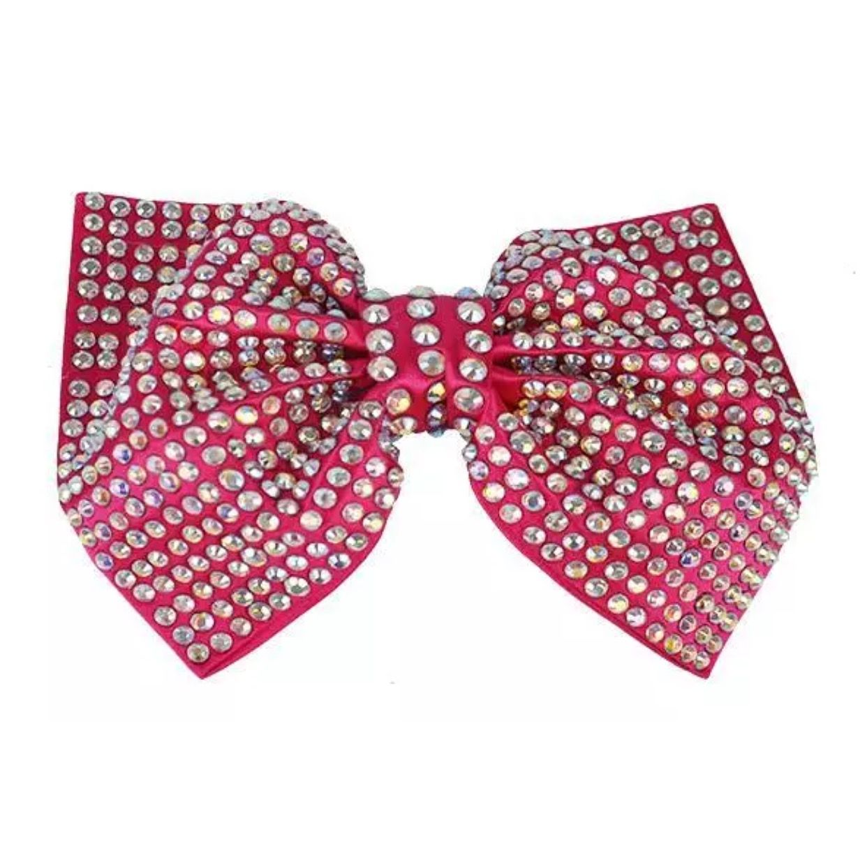 Bright Pink Bling Bow with Iridescent Rhinestones.