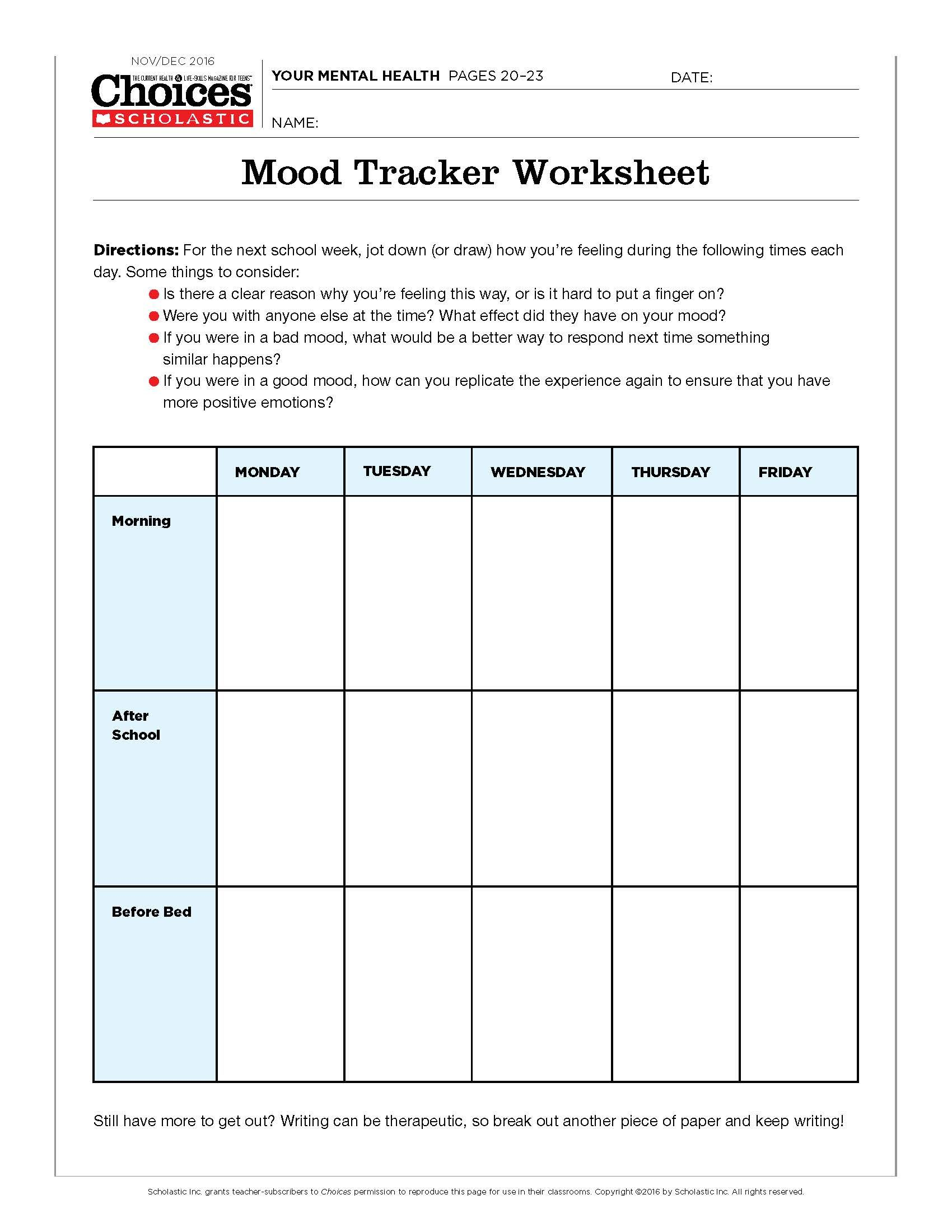 worksheet Mind Over Mood Worksheets youll love this mood tracking activity positive mental health teens can manage their moods with worksheet and how