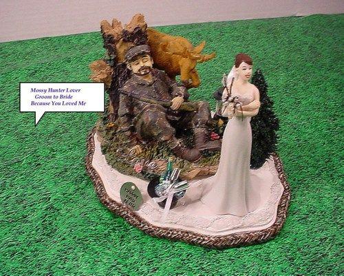 Sleeping Redneck Hunter Groom Wedding Cake Topper Bride Folding Arm