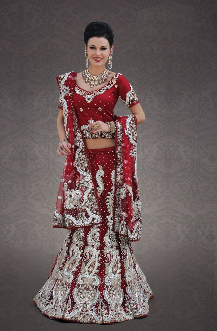red and white bridal lengha | All Lengha View Wedding ...
