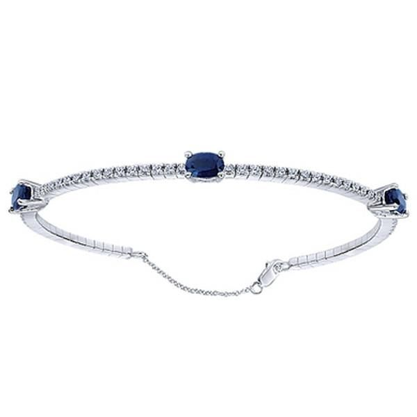 Gabriel Midnight Blue Sapphire And Diamond Tennis Bracelet Black Diamond Bracelet Diamond Bangles Bracelet Diamond Bangle