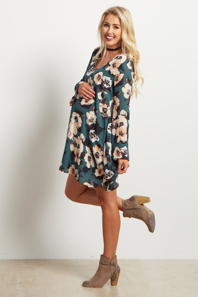 Green Floral Print Bell Sleeve Chiffon Maternity Dress