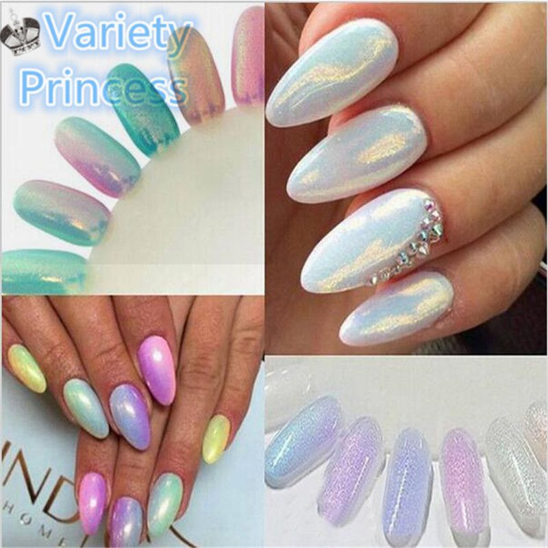 10 g/caja 5 Colores Espejo Mermaid Shinning Glitter Powder Para Uñas ...