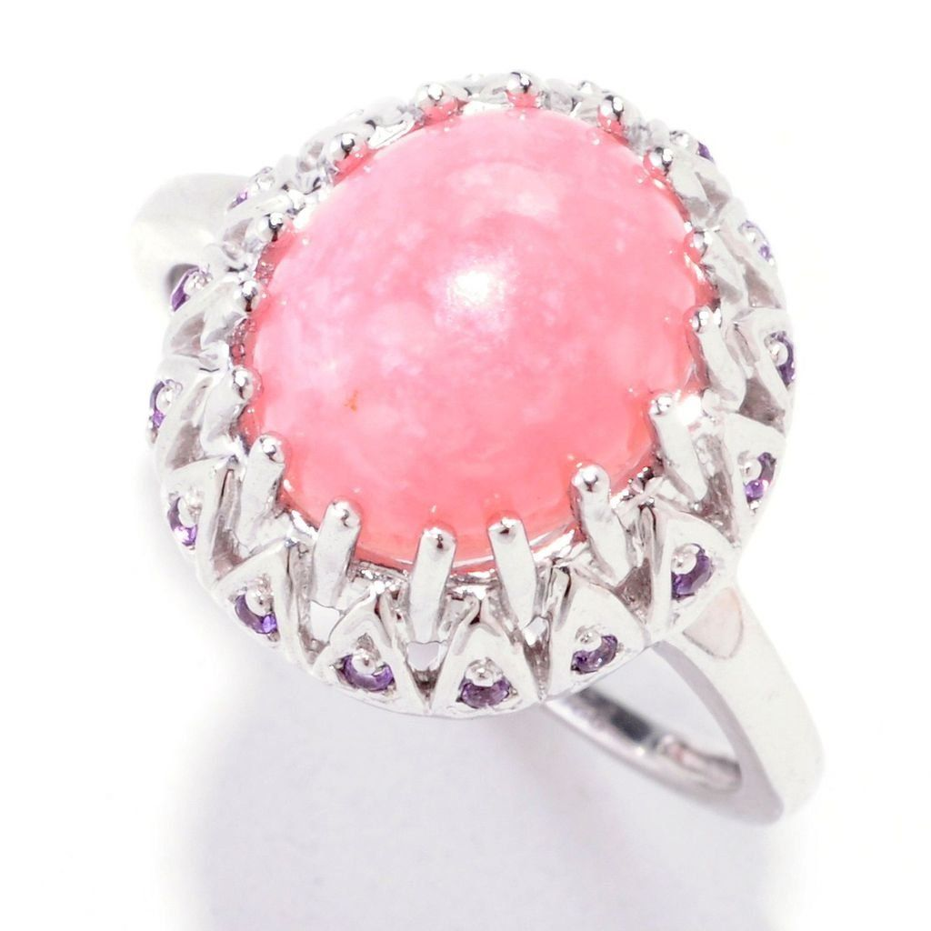 Sterling Silver 2.42ct Pink Opal and Amethyst Scrollwork Ring. Ring ...
