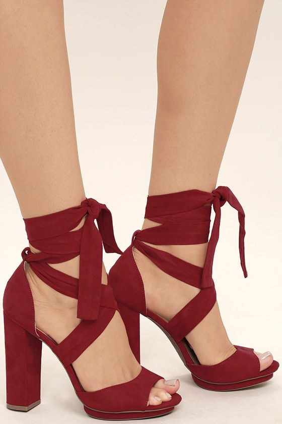 a4036952608 The Dorian Dark Red Suede Lace-Up Platform Heels are giving us  70s diva  vibes! Dance the night away in these vegan suede stunners with a cute  peep-toe ...