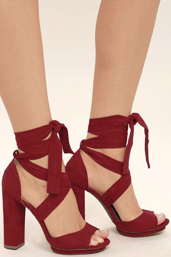 Dorian Dark Red Suede Lace-Up Platform Heels   Dark red, Peeps and ...
