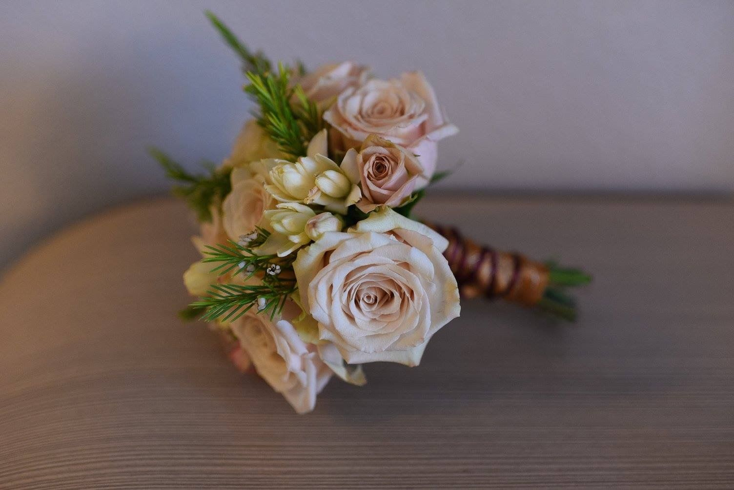 Cream and gold wedding bouquet