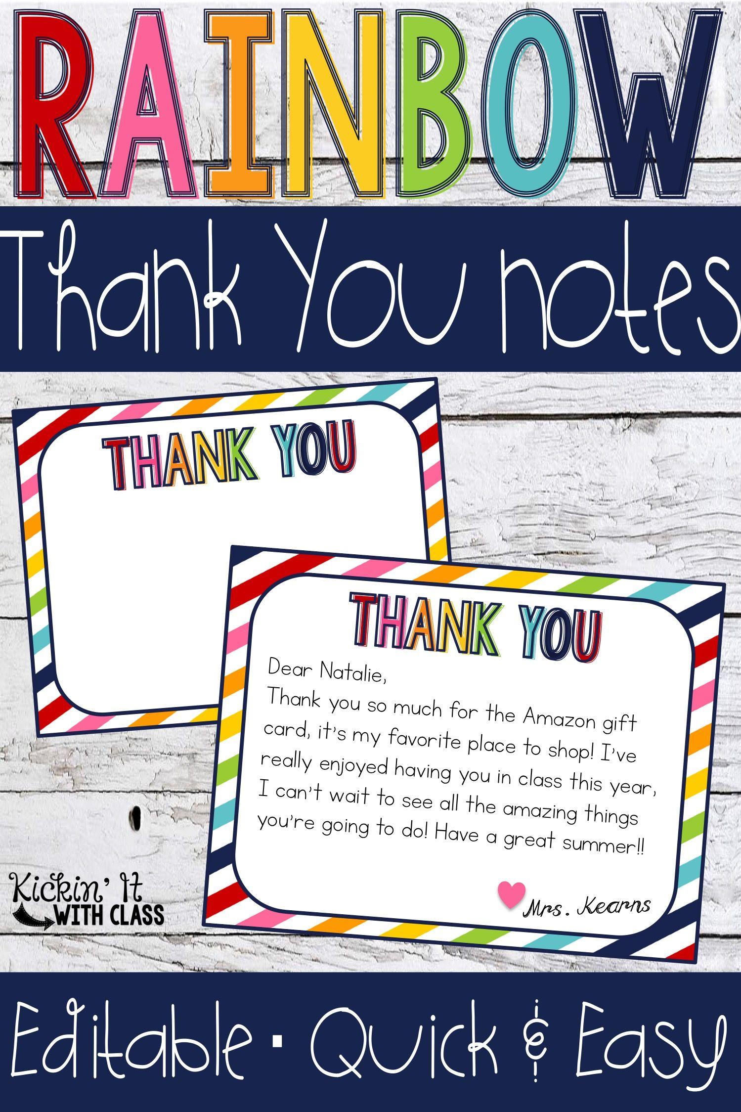 Rainbow Thank You Cards Editable Teacher Thank You Notes Teacher Thank You Cards Personalized Thank You Cards