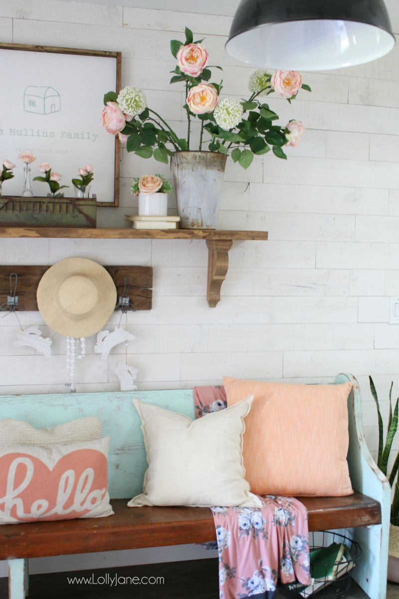 Pink And White Spring Entryway Decor Ideas Fun Diy Sign With Free Cut File Included