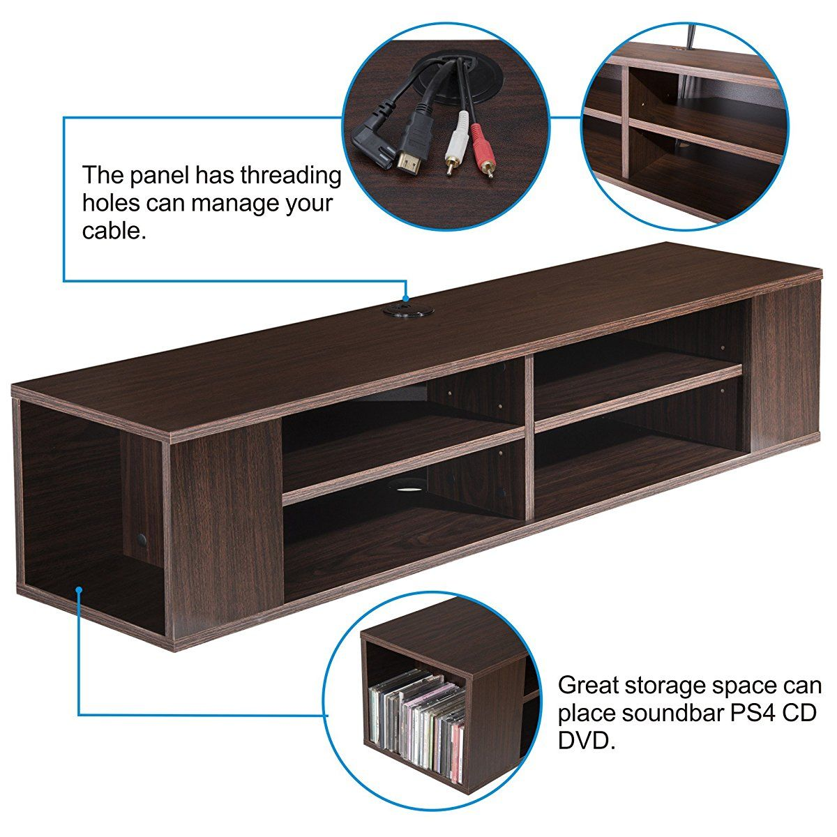 Fitueyes Wall Mounted Audio Video Console Wood Grain For Xbox One