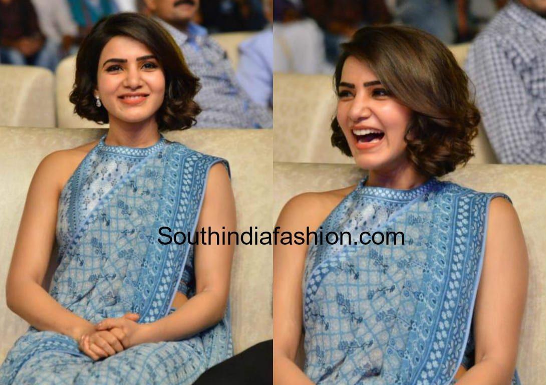 Samantha Akkineni S Short Haircut Hair Style On Saree Indian