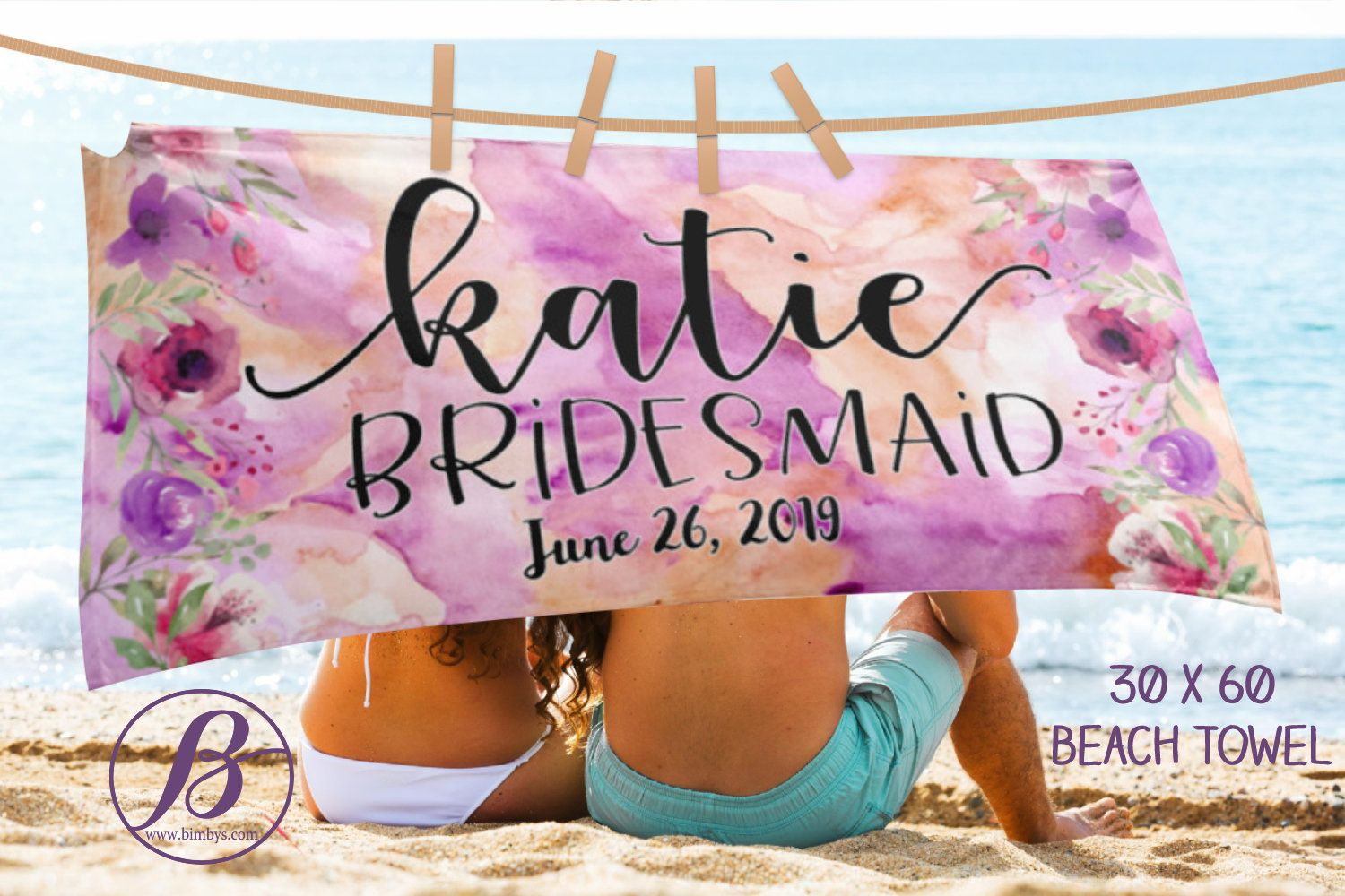 Bridesmaid Beach Towels Custom Wedding Beach Towel