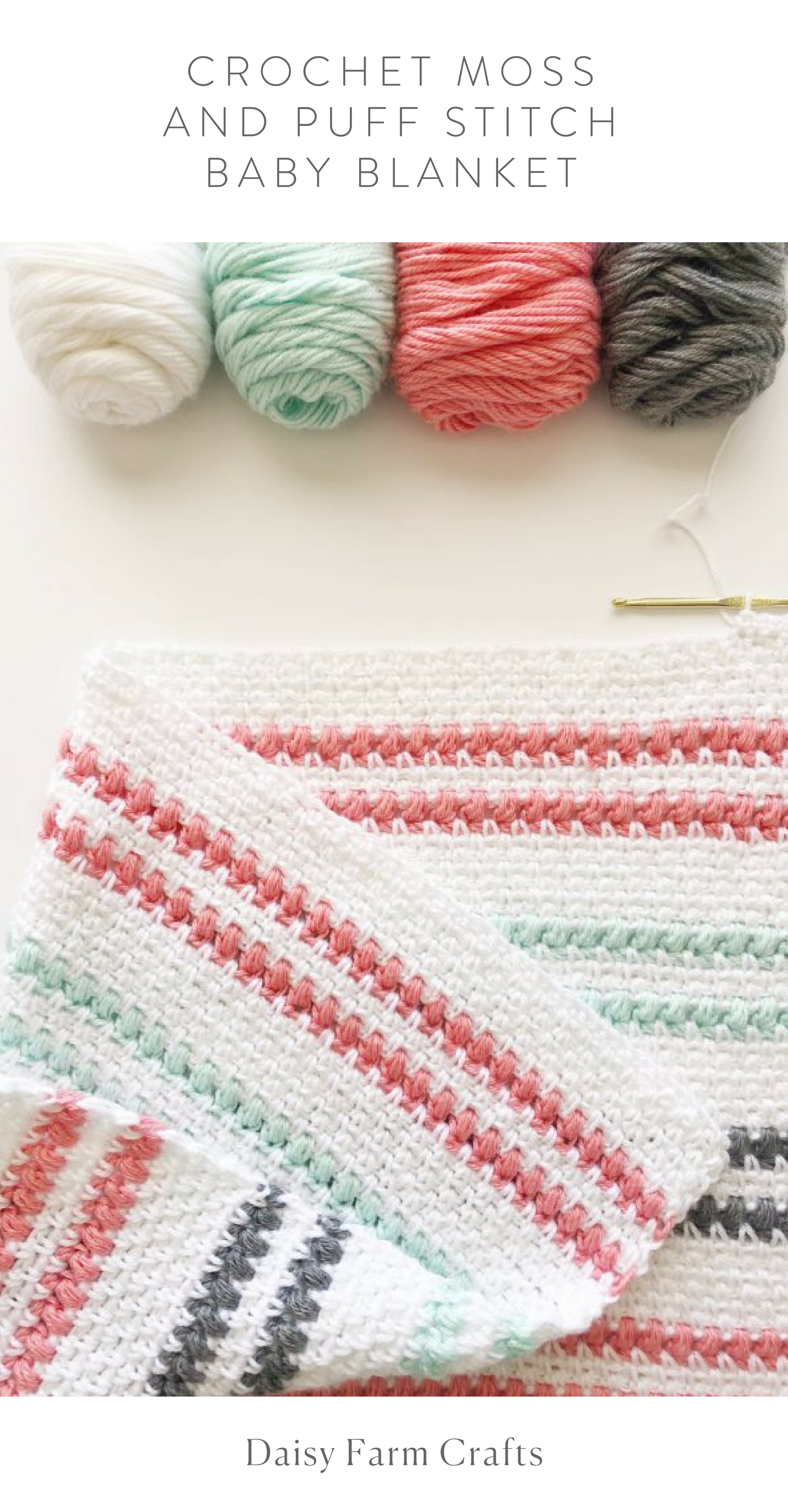 Free Pattern - Crochet Moss and Puff Stitch Baby Blanket | Baby ...