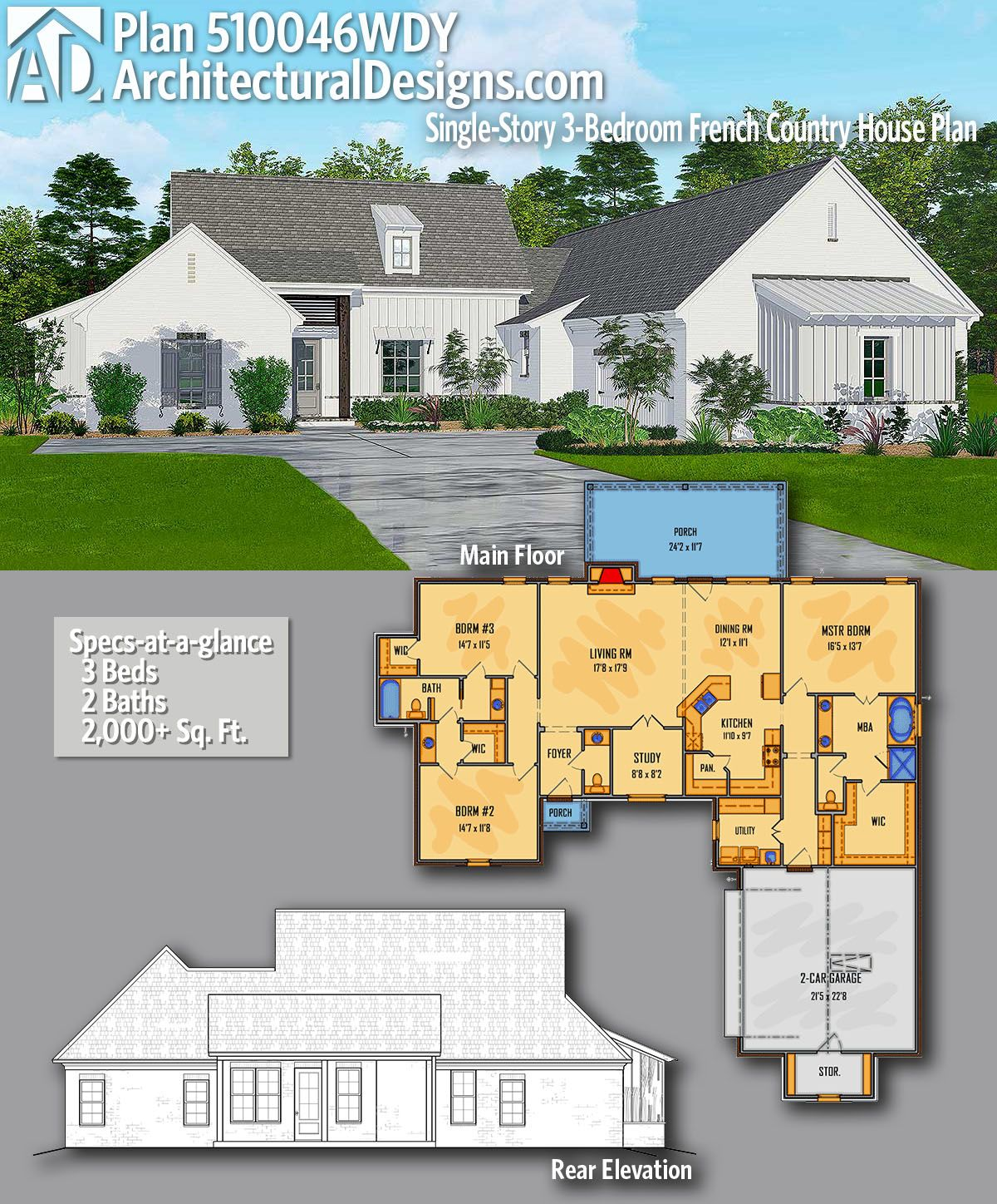 Plan 510046wdy Single Story 3 Bedroom French Country House Plan French Country House Plans House Plans Country House Plan