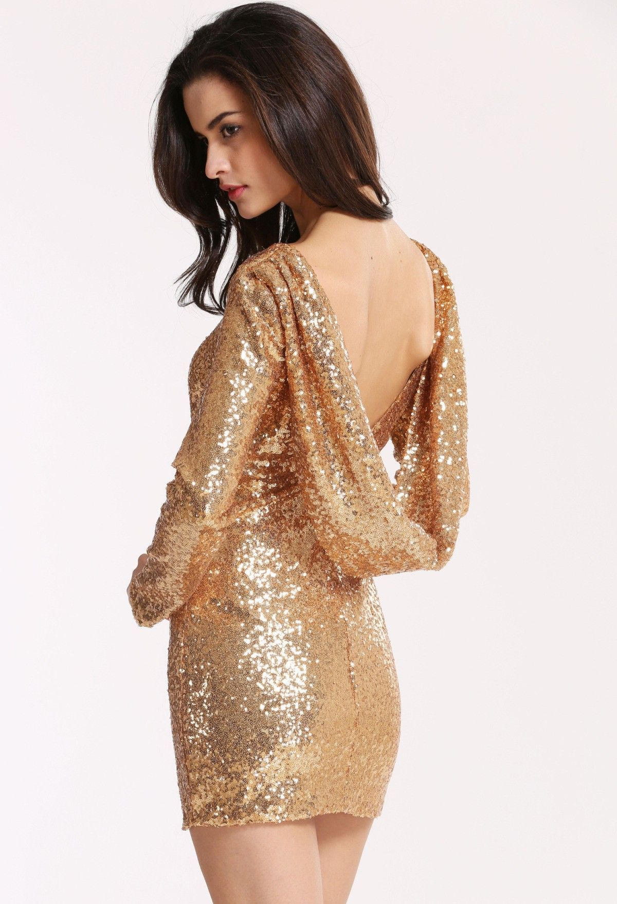 Gold Long Sleeve Sequined Backless Dress Ropa [ 1758 x 1200 Pixel ]