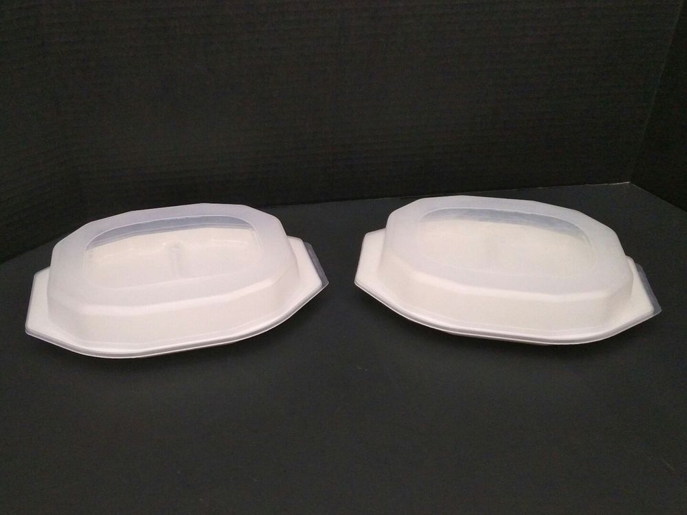 2 Nordic Ware Tv Dinner Plates Divided 3 Compartment With Lids Freeze Microwave Nordicware