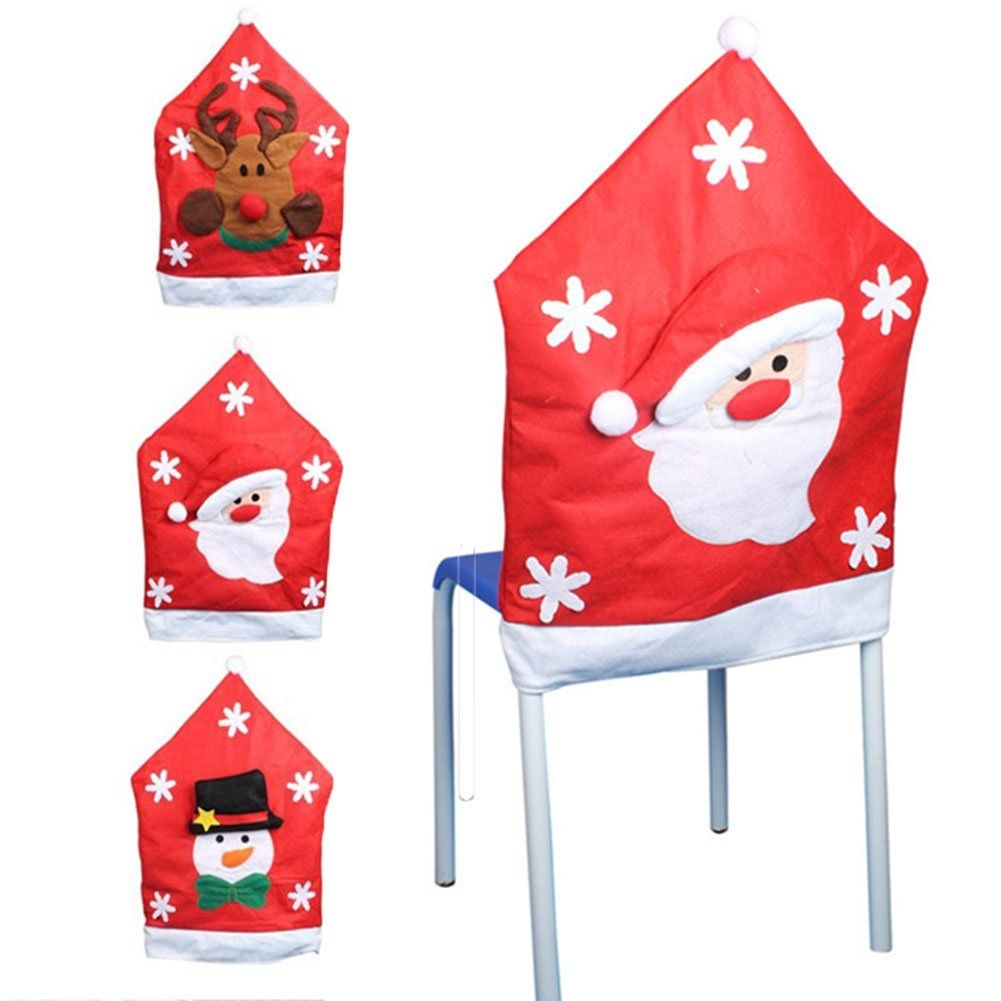 1 Piece Xmas Seat Cover Mr Santa Claus Chair Back Cover Christmas Party Dinner Room Kitchen Dining Bar Restaurant Hotel Decoration Christmas Chair Covers Chair Back Covers Dining Chair Covers