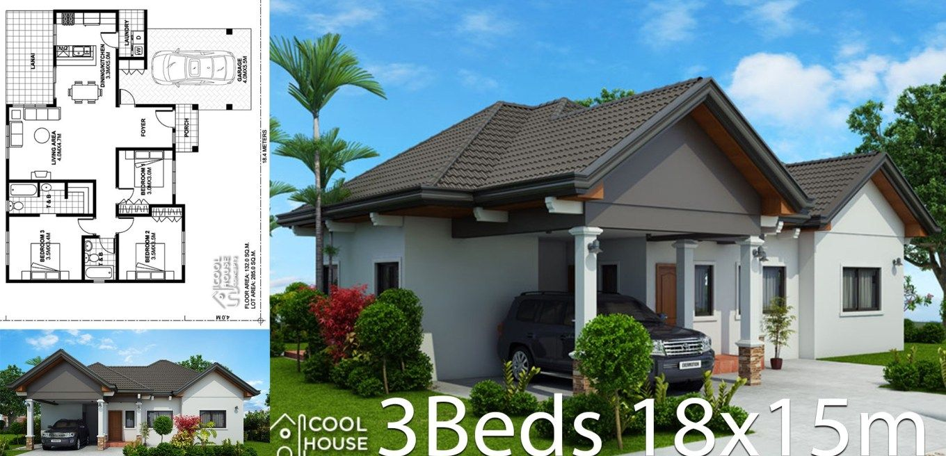 Home Design Plan 18x15m With 3 Bedrooms Home Design Plan House Design House Plans