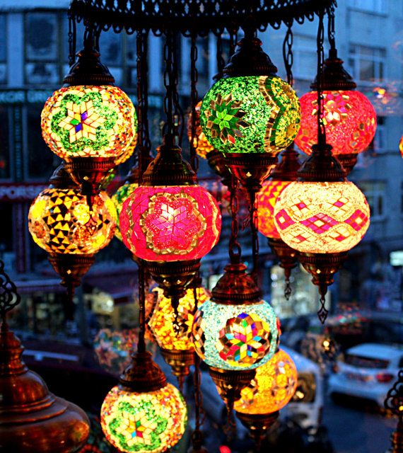 Chandelier 15 Ball Arabian Mosaic Lamps Moroccan Lantern Turkish