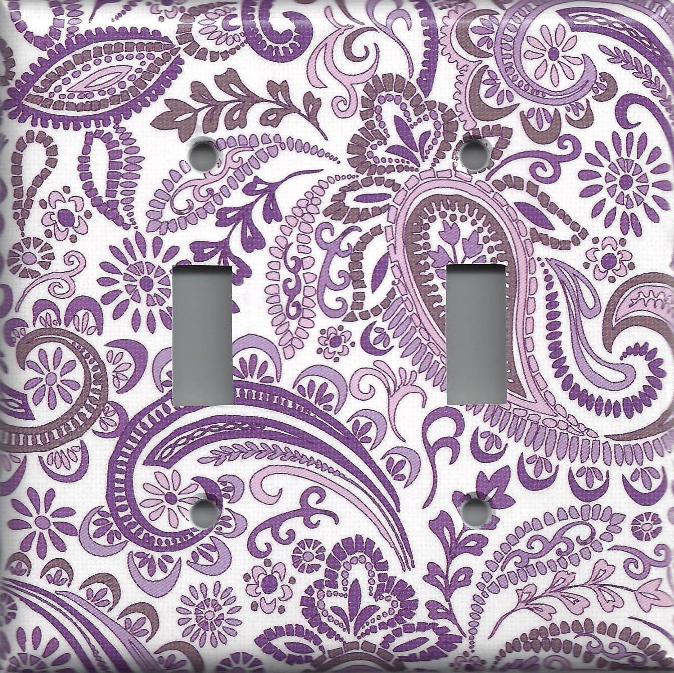 lavender violet purple mosaic paisley light switch plates on wall outlet id=32208