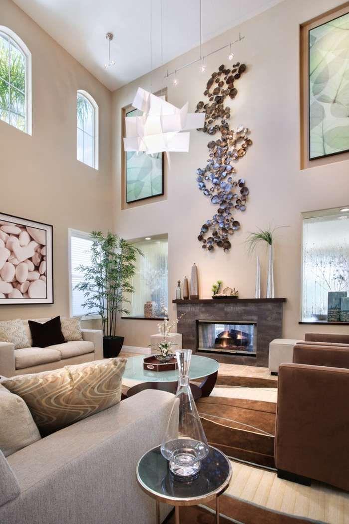 6 Amazing Living Room Wall Decor Ideas Houseminds In 2021 High Ceiling Living Room Wall Decor Living Room Living Room Paint