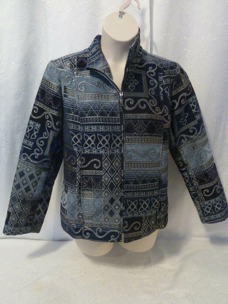 2036fe1d4e0 NWOT Christopher   Banks Blue Geometric Print Zipper Front Jacket Size XL   fashion  clothing  shoes  accessories  womensclothing  coatsjacketsvests  (ebay ...