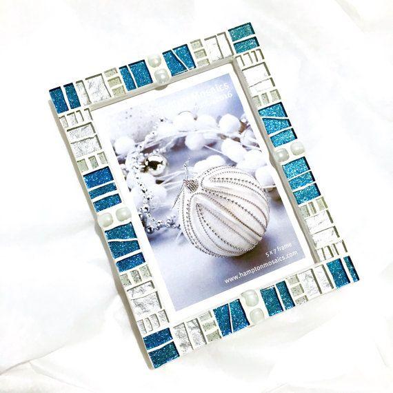 Cuadro mosaico - brillo turquesa - regalo de anfitriona de invierno ...