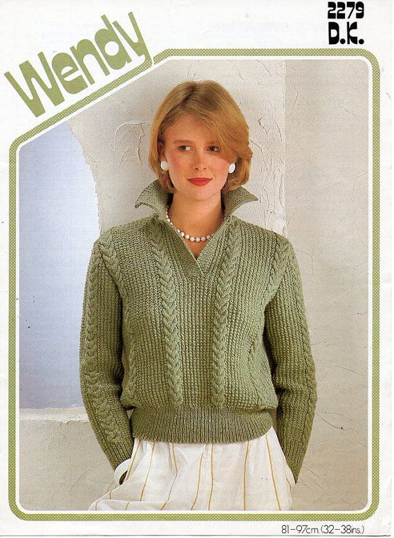 1987e1c5cc43d L7150 ladies knitting pattern pdf download ladies sweater knitting pattern  womens sweater cable panel jumper collar 32-38 DK light worsted 8ply All  patterns ...