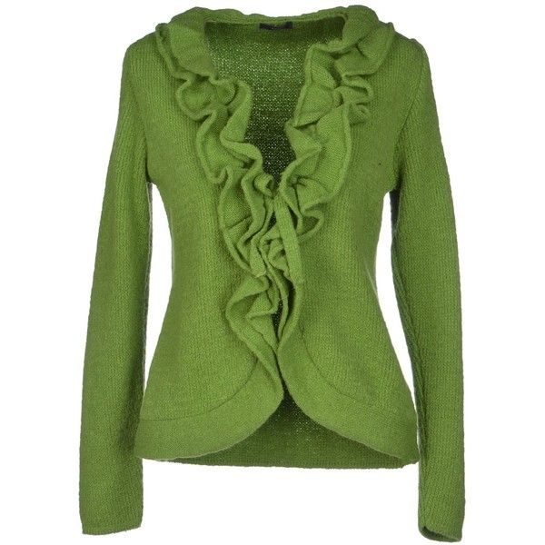 Eqè Cardigan ($89) ❤ liked on Polyvore featuring tops, cardigans, sweaters, outerwear, blazer, light green, long sleeve tops, v neck cardigan, lace up front top and lace up front long sleeve top