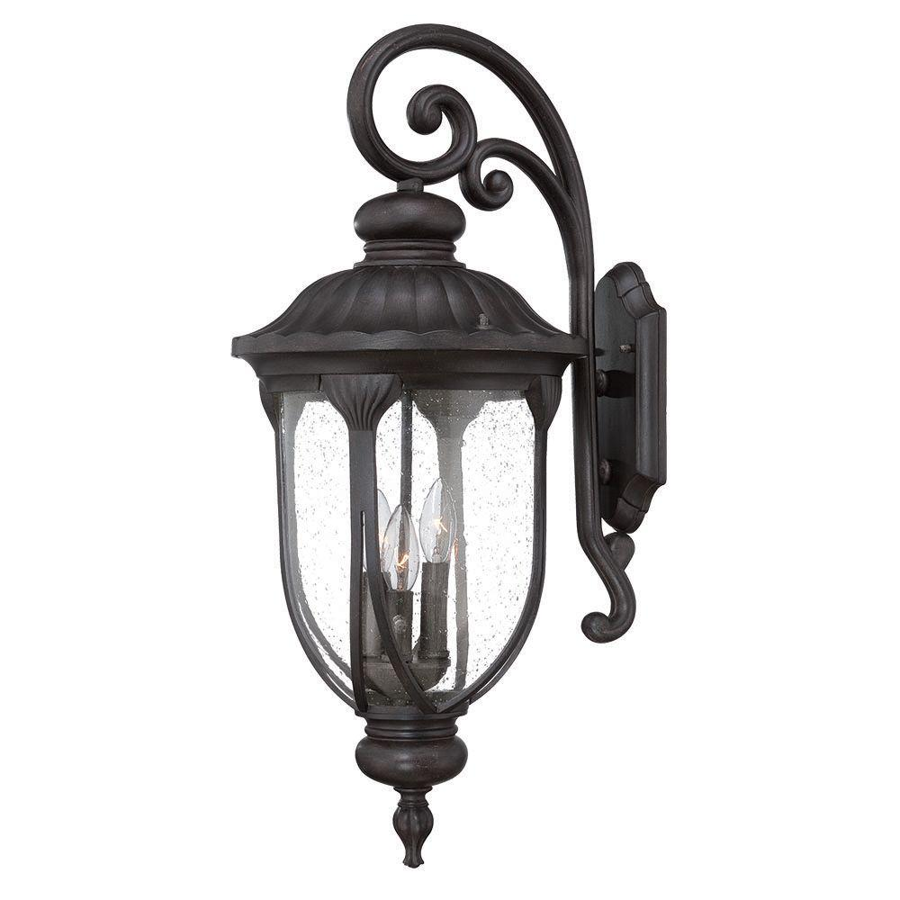 Laurens Collection 3-Light Outdoor Black Coral Wall Mount