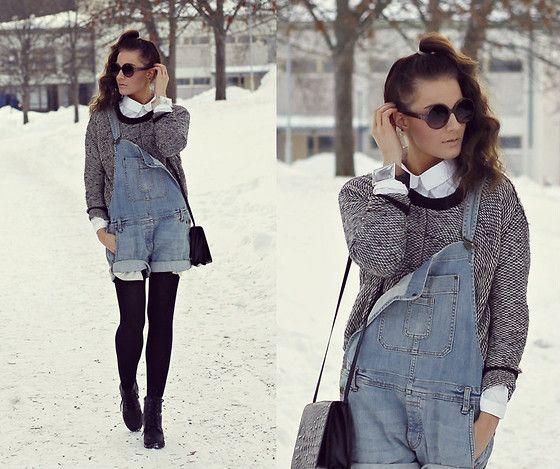 Salopette - Jeans - Pull - Chemise - Blanche - Lunettes.