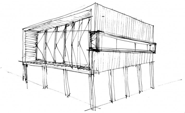 Pump house sketch Self Sustainable Weekend Retreat by Branch Studio