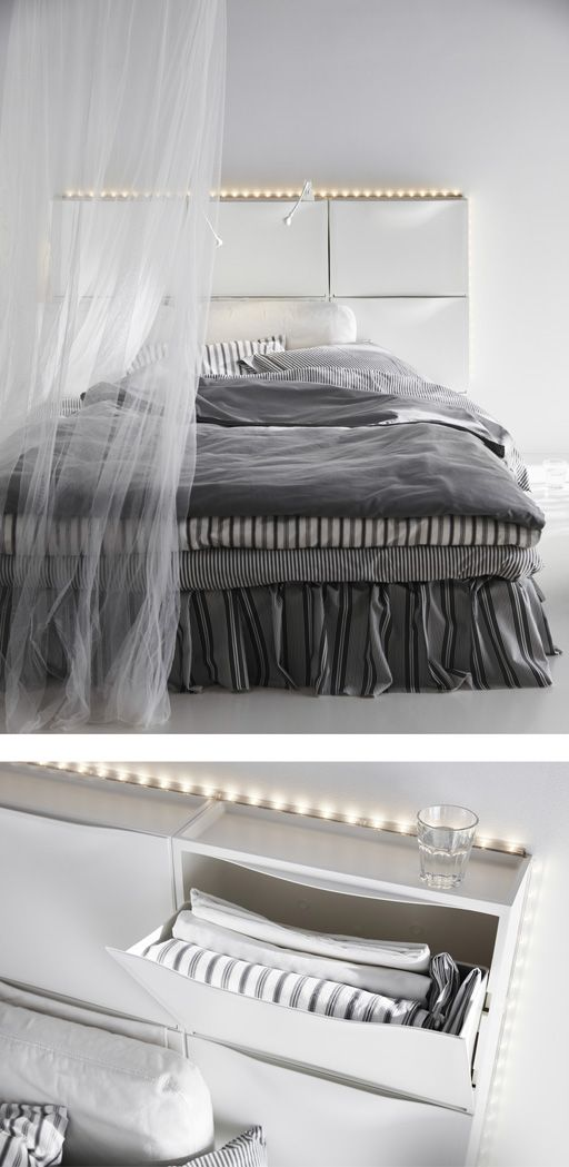 six white ikea trones shoe cabinets are used to create a headboard for a bed bedroom. Black Bedroom Furniture Sets. Home Design Ideas
