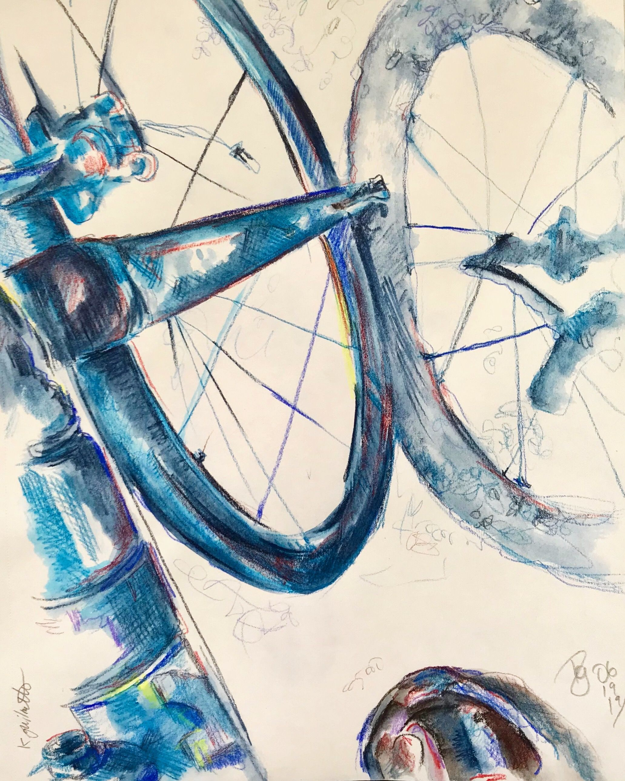 An inktense & coloured pencil sketch of my bicycle on a ...