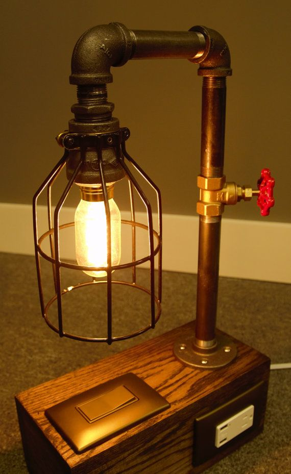 Industrial Lamp   Edison Bulb   Black Iron Pipe   Phone U0026 Tablet Charging  USB Ports   Oak Base   Metal Lamp Cage