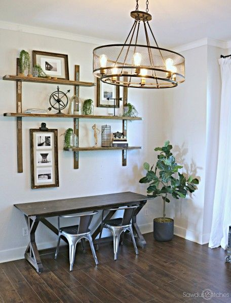 Home office makeover with an industrial vintage light fixture
