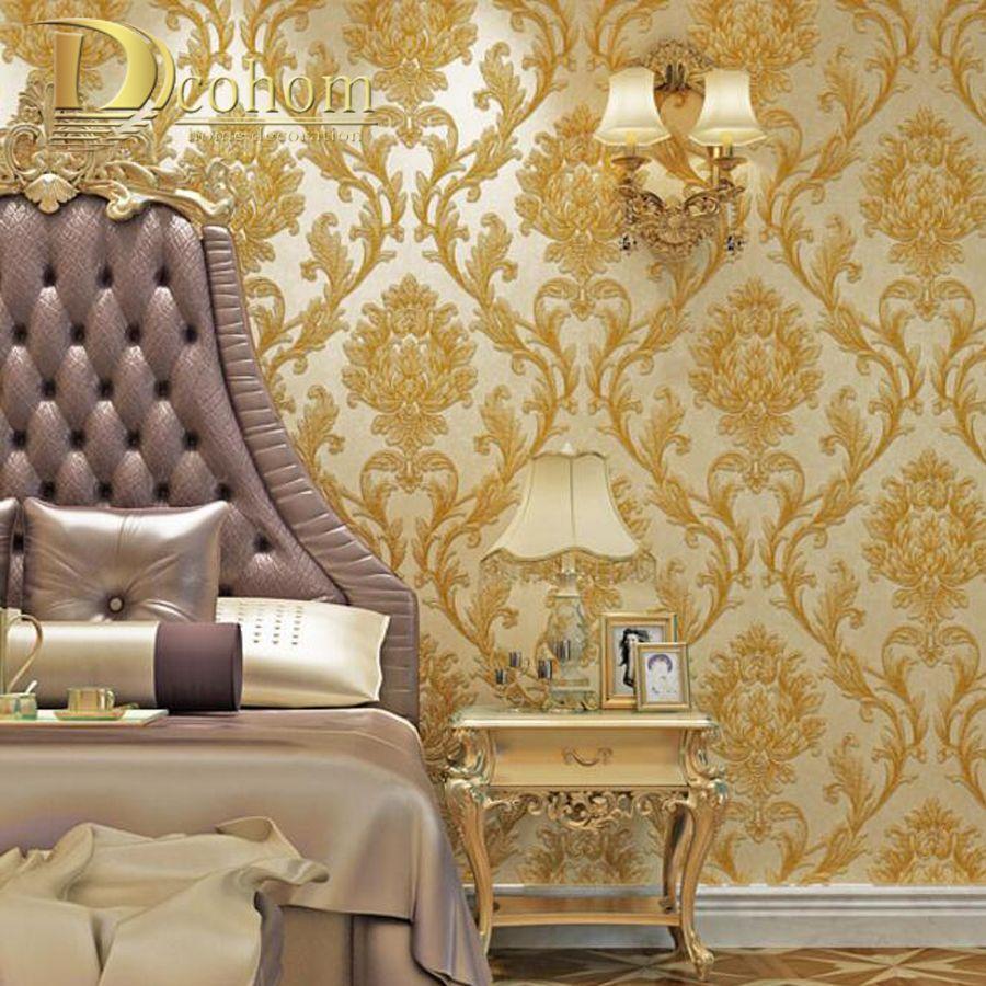 Luxury Simple European 3D Striped Damask Wallpaper For Walls Decor ...