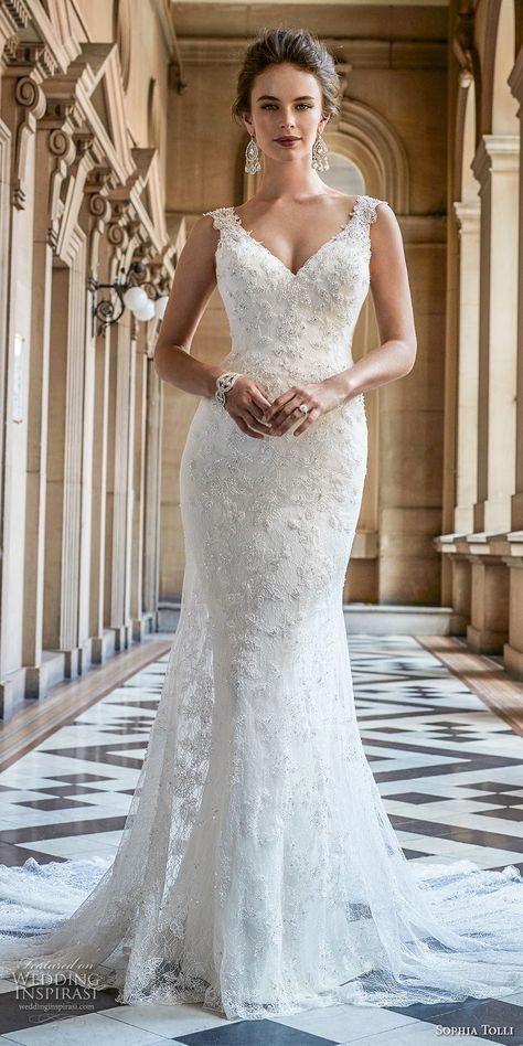 Jenny Yoo Women S Paige Beaded Lace Wedding Gown Ivory Ivory 2 Fitted Wedding Dress Wedding Dresses V Neck Wedding Dress