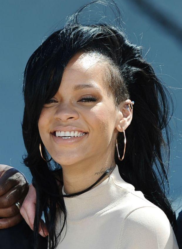Rihanna, undercut side shaved hair, long black