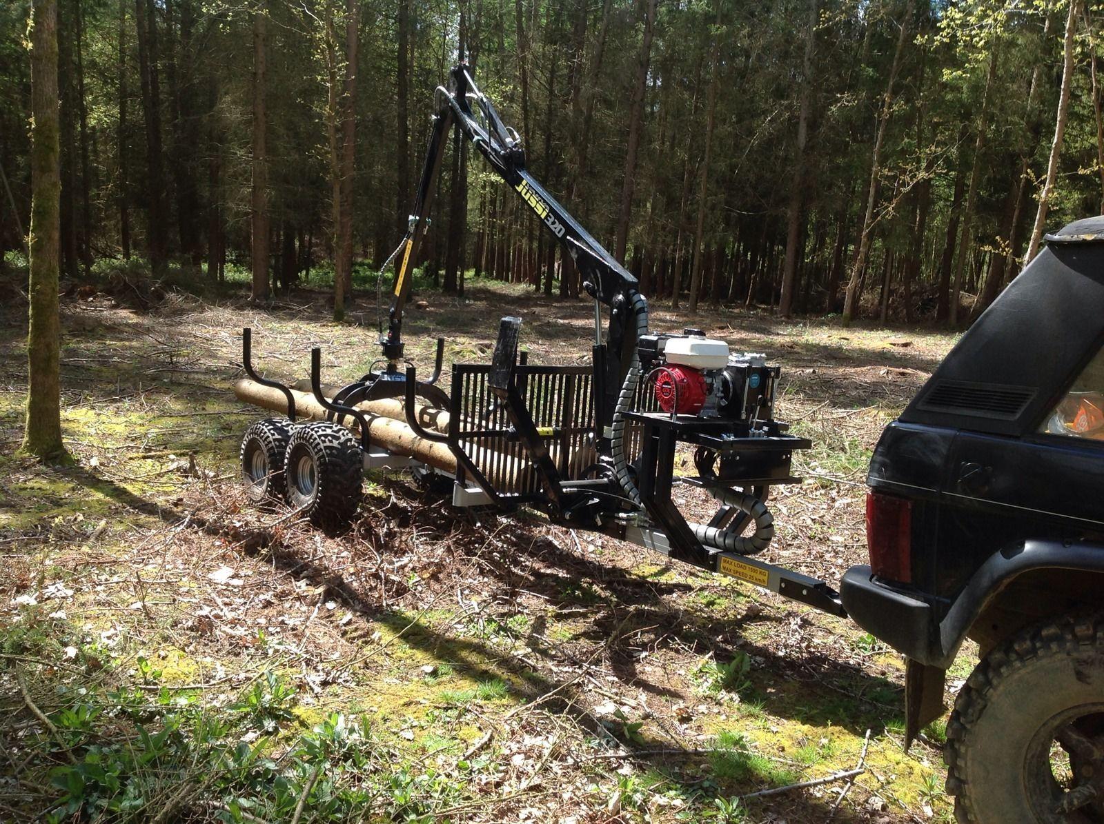 Land rover range rover hilux 2 tonne forestry timber crane trailer honda engine ebay