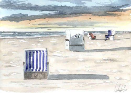 Landschaft aquarell strandkoerbe 17 x 24 cm original u for Koch zeichnen