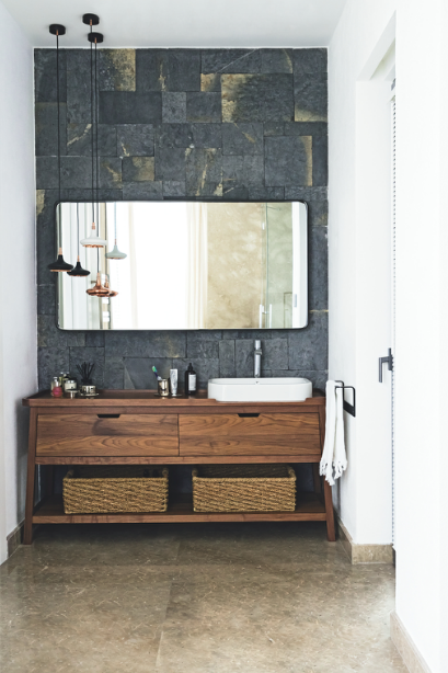 bathroom | stone | wood | organic | white | modern
