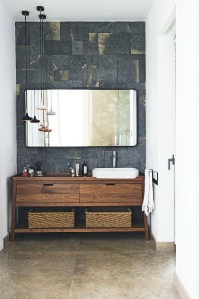 Bathroom Stone Wood Organic White Modern Livingetc