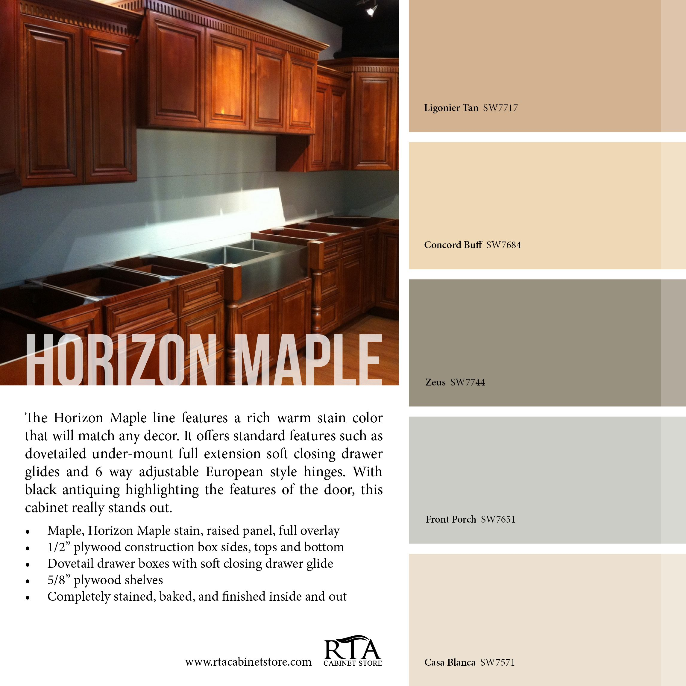 Color Palette To Go With Our Horizon Maple Cabinet Line Kitchen Color Trends Maple Cabinets Online Kitchen Cabinets