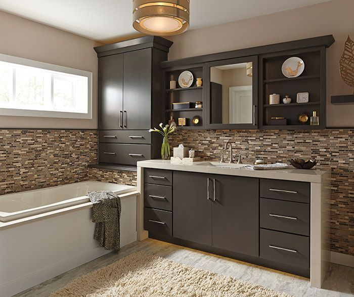 Kemper Caprice Cabinets In A Neutral Maple Forest Floor Finish Provide A Solid Bas Kitchen Cabinet Design Bathroom Cabinets Designs Kitchen And Bath Remodeling