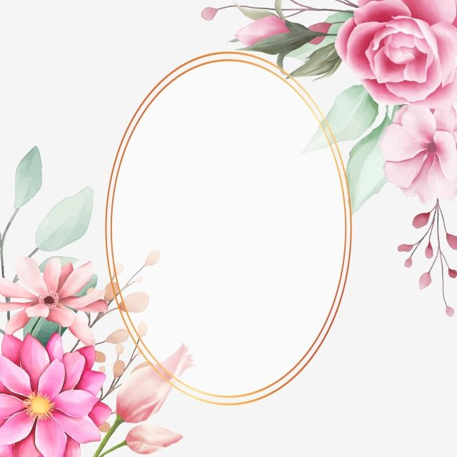 Wedding Flower Borders: Elegant Watercolor Floral Border With Eclipse Frame