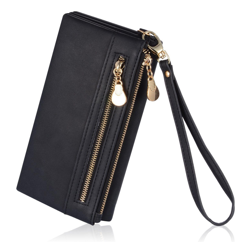 Augur womens matte wristlet clutch wallet with wrist