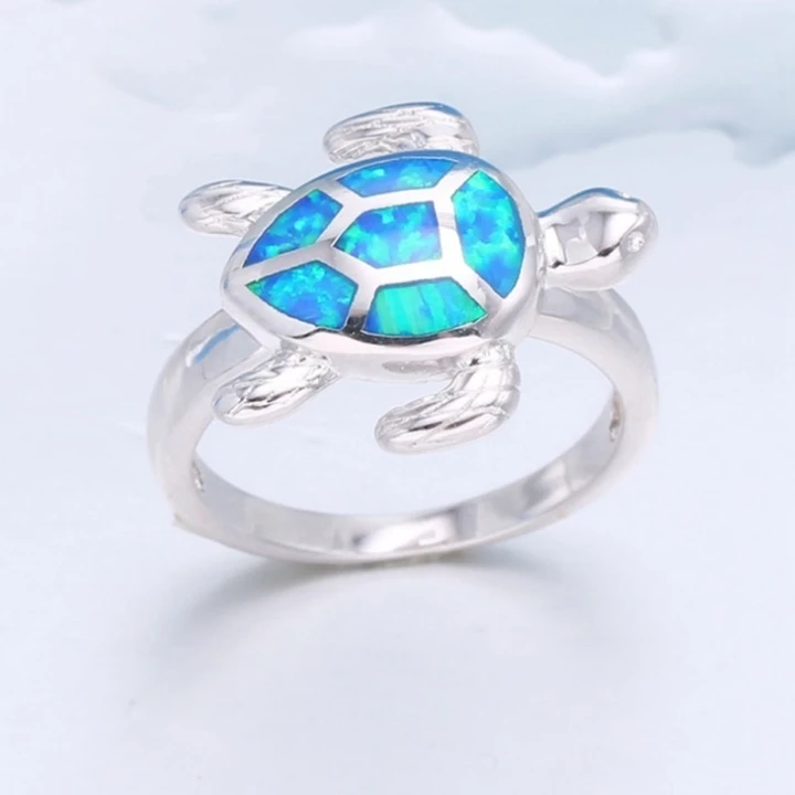 1 Turtle Imitation Blue Fire Opal Ring All Sizes Available Turtle Ring Fire Opal Ring Fire Opal